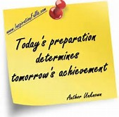 Today's Preparation Determines Yomorrow's Acheivement